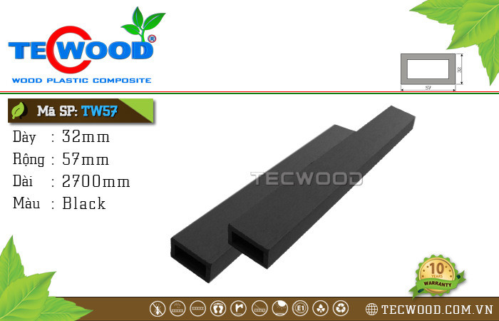 Thanh gỗ nhựa TW57 Black