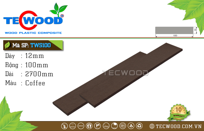 Thanh gỗ nhựa TWS100 Coffee