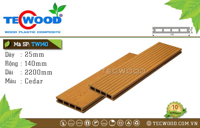 Sàn gỗ ngoài trời TecWood TW140-Cedar [lỗ vuông]