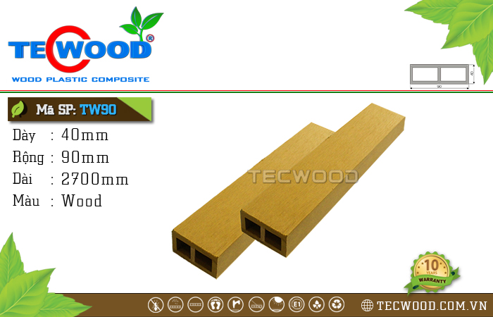 Thanh gỗ nhựa TecWood TW90 Wood