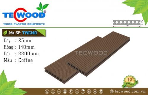 Sàn gỗ ngoài trời TWC140-Coffee [Lỗ tròn]