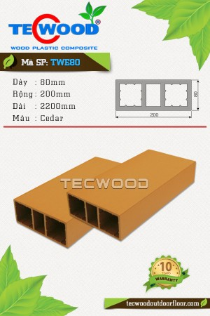 Trụ cột gỗ nhựa TecWood TWE80-Cedar