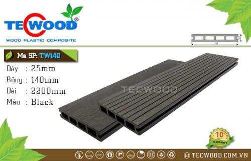 Sàn gỗ ngoài trời TecWood TW140-Black [lỗ vuông]