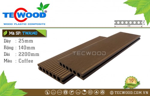 Sàn gỗ nhựa ngoài trời TecWood TWA140 Coffee