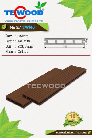 Sàn gỗ ngoài trời TecWood TW140-Coffee [lỗ vuông]