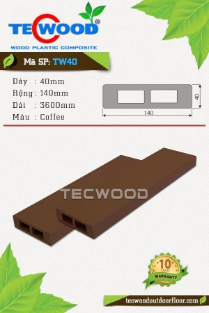 Thanh lam gỗ nhựa TW40 - Coffee