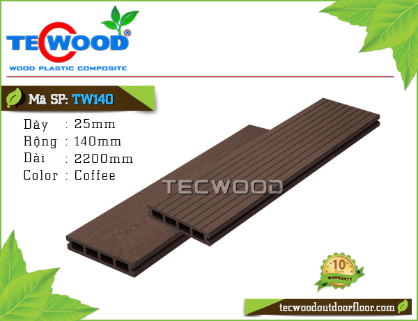 Sàn gỗ Tecwood Lỗ Vuông TW140-Coffee