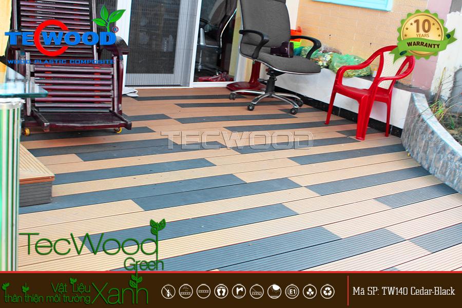 Lót sàn nhà ngoài trời bằng sàn gỗ TecWood TW140 Cedar và Black