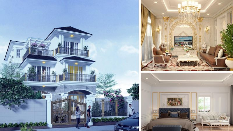 Thiết kế biệt thự tân cổ điển thống trị thiết kế nhà đẹp
