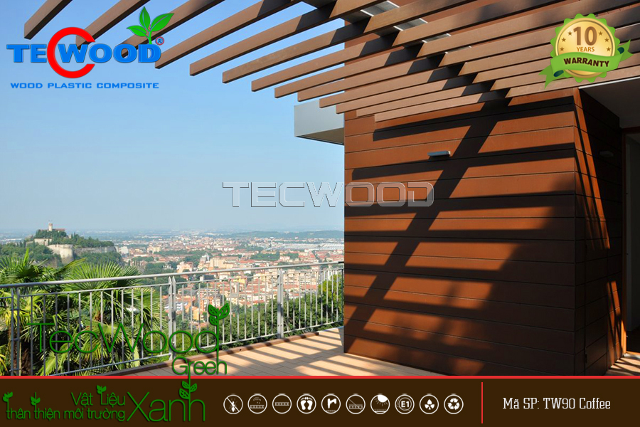 Giàn lam che nắng sân thượng độc đáo từ gỗ nhựa TecWood