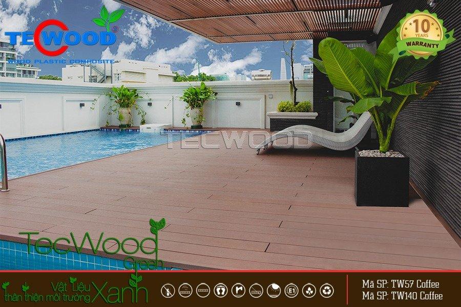 Những ý tưởng lót sàn hồ bơi bằng gỗ nhựa đầy phong cách