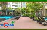 Cafe sân vườn với sàn gỗ ngoài trời Tecwood