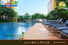 Sàn gỗ TecWood cho không gian hồ bơi sang trọng.