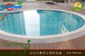 [Hình ảnh công trình] Florita Quận 7 - trang trí hồ bơi bằng sàn gỗ nhựa TecWood