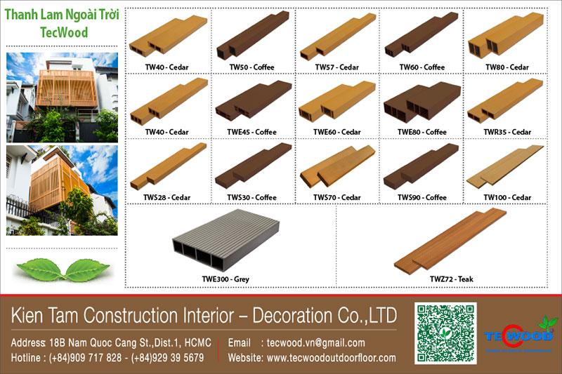 Bảng giá lam gỗ, thanh lam gỗ nhựa, trụ cột TecWood