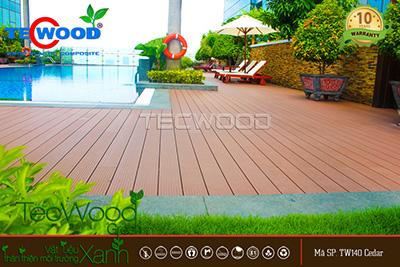 sàn gỗ lót hồ bơi ngoài trời