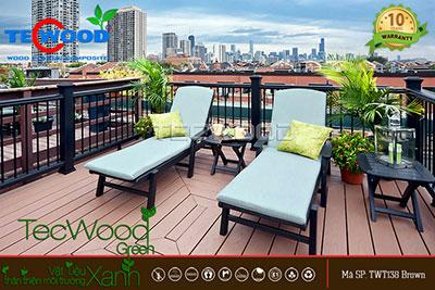 sàn gỗ lót sân thượng