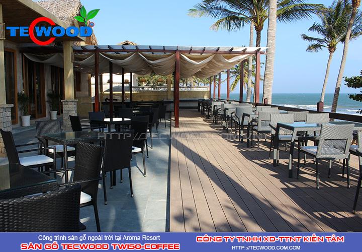 Sàn gỗ ngoài Tecwood TW150-Coffee tại Aroma Resort