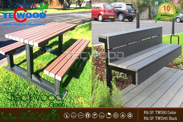 gỗ nhựa ngoài trời làm bàn ghế