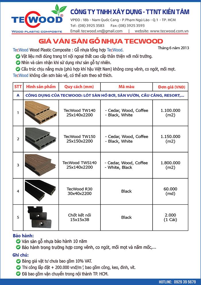 Bảng báo giá sàn gỗ ngoài trời tháng 6/2013