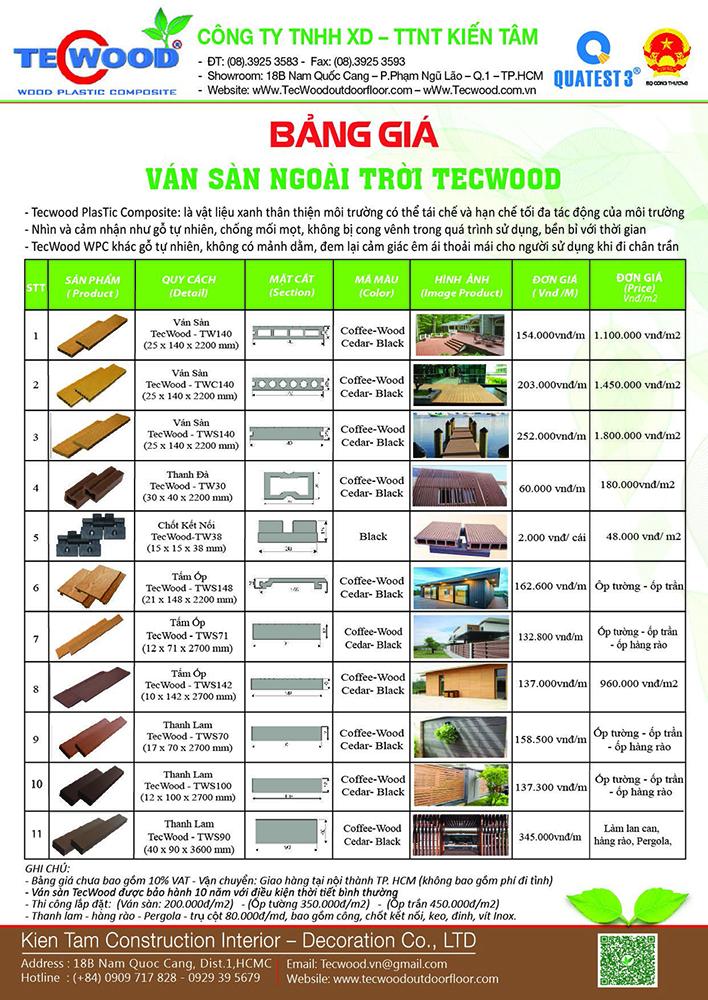 Bảng báo giá sàn gỗ ngoài trời Tecwood
