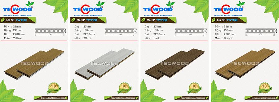 Mẫu sàn gỗ nhựa ngoài trời TWT138