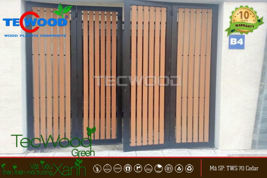 cổng gỗ nhựa 4 cánh