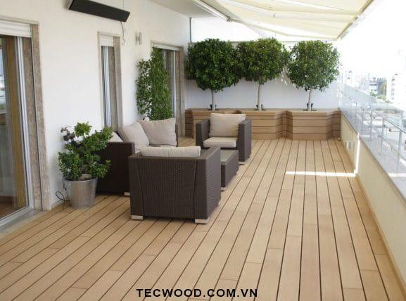 công trình sàn gỗ ban công