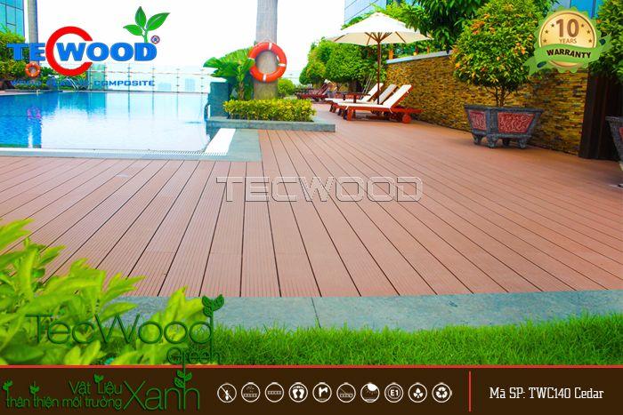 công trình sàn gỗ hồ bơi
