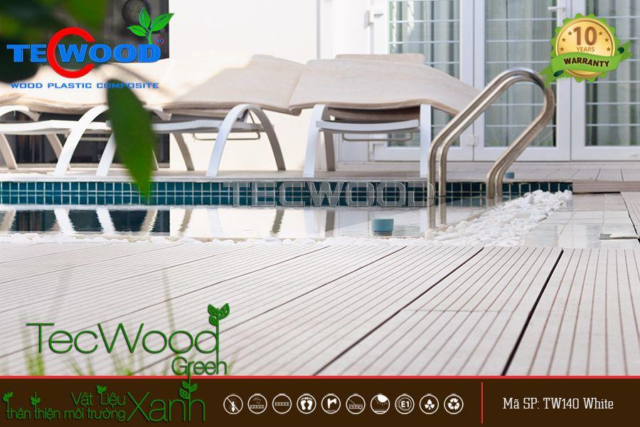 sàn gỗ gỗ màu trắng lót hồ bơi