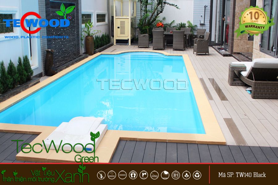 Sàn gỗ ngoài trời tại Villa Sông Sài Gòn