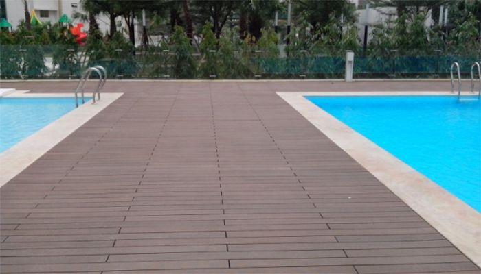 Sàn gỗ công nghiệp lót hồ bơi