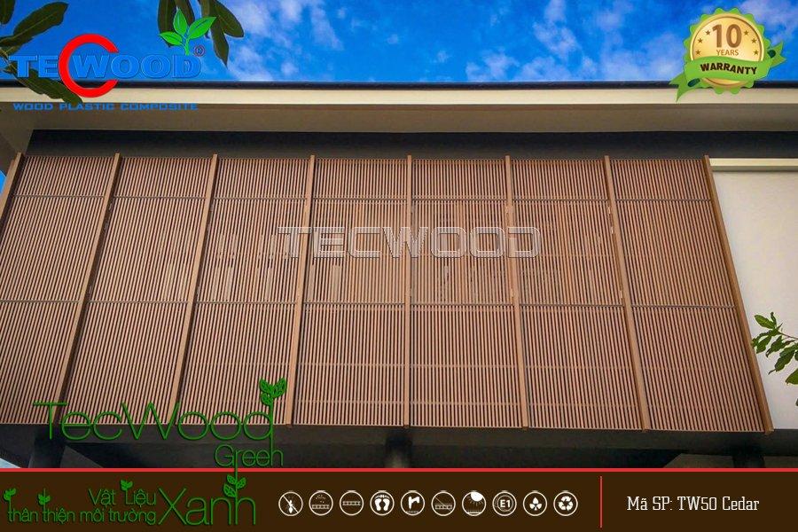 gỗ nhựa làm lam che chắn nắng