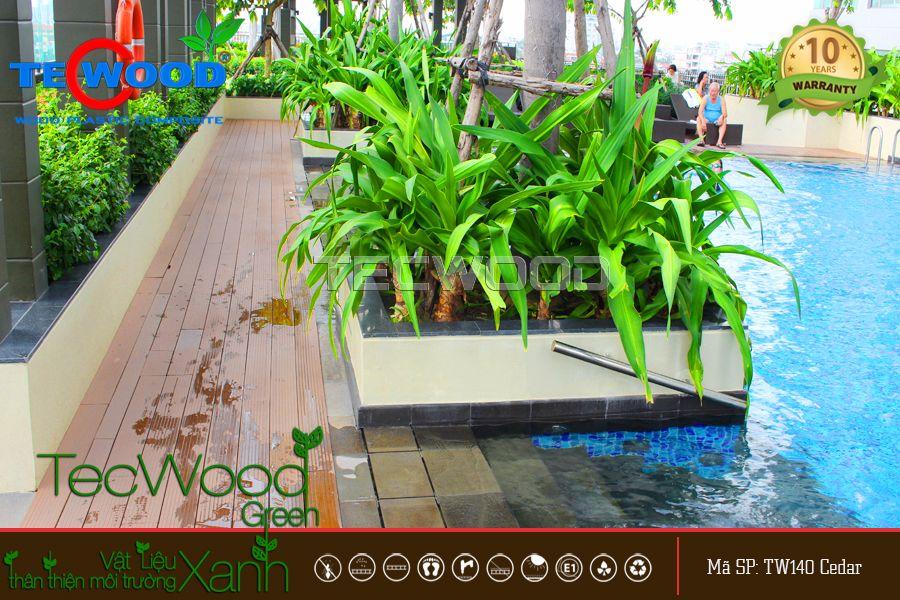 gỗ nhựa lót sàn hồ bơi