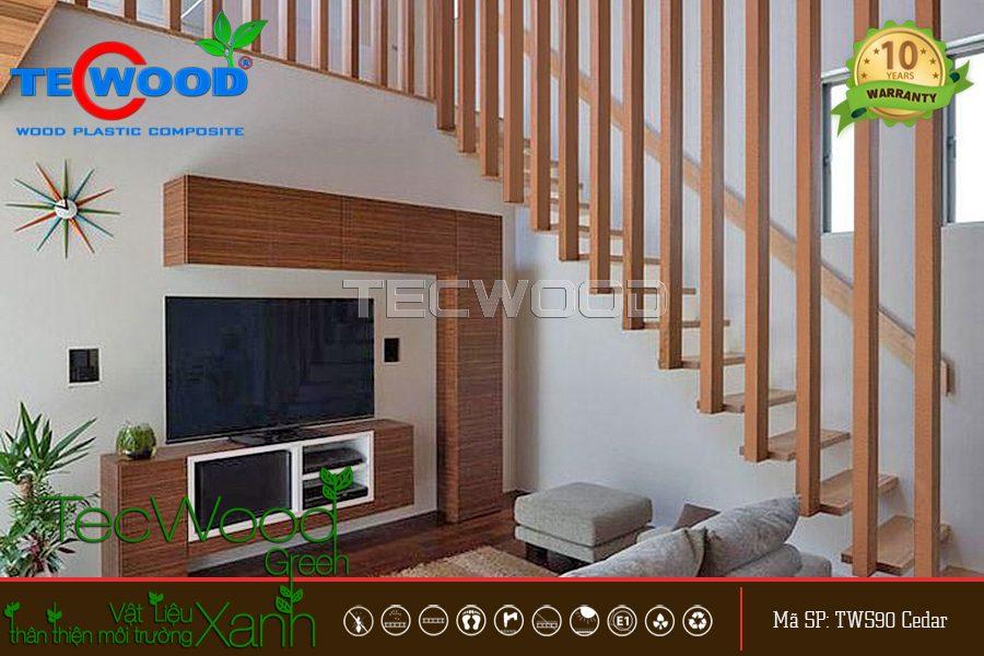 lam gỗ trang trí cầu thang 2