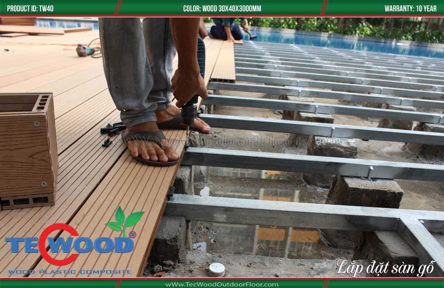 Thi công, lắp đặt sàn gỗ ngoài trời 2