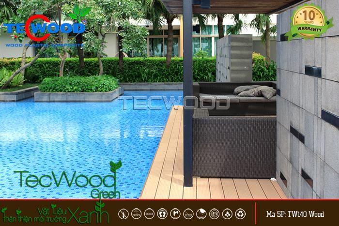 sàn gỗ nhựa lót hồ bơi