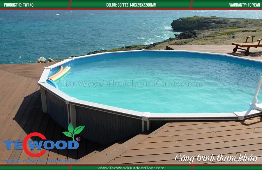 lót sàn hồ bơi gỗ nhựa
