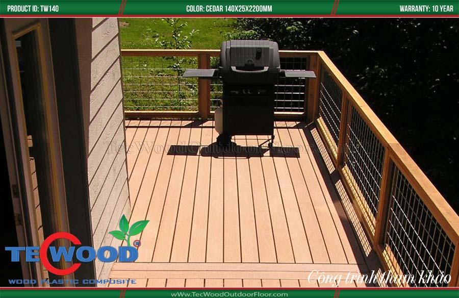 Sàn gỗ lót ban công tuyệt đẹp với tone màu wood