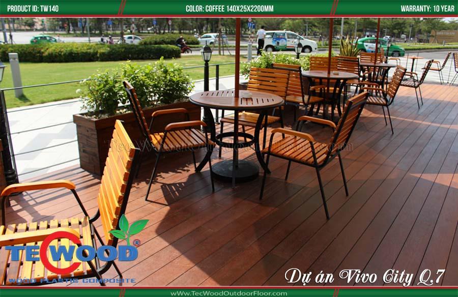 sàn gỗ tự nhiên lót sàn quán cafe