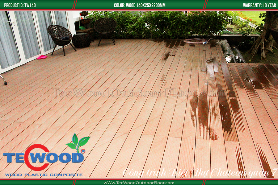 Sàn gỗ lót khuôn viên nhà chống nóng