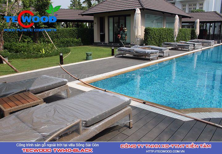 Hình ảnh công trình sàn gỗ hồ bơi tại Vila Sông Sài Gòn