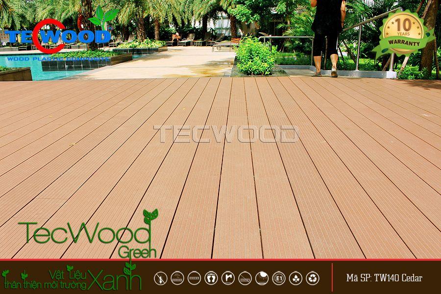 sàn gỗ lót bể bơi tecwood