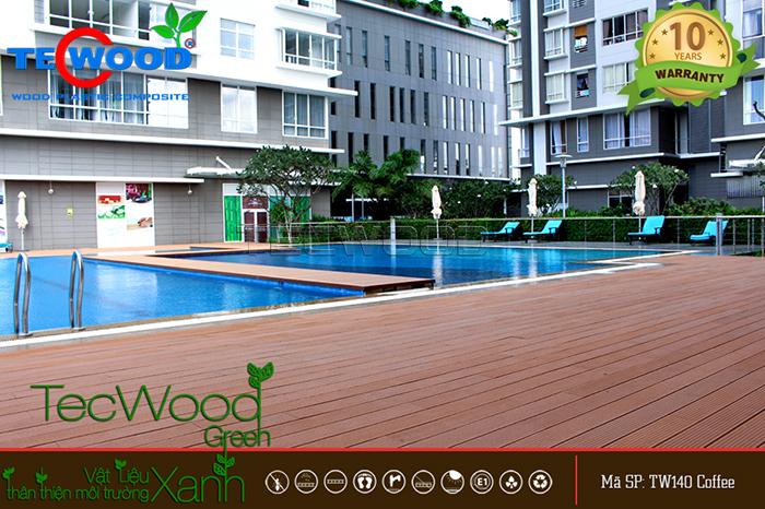 lót sàn gỗ hồ bơi