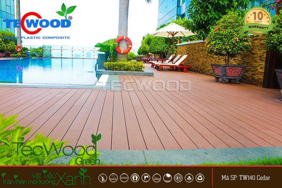 lót sàn gỗ cho hồ bơi tại vincom
