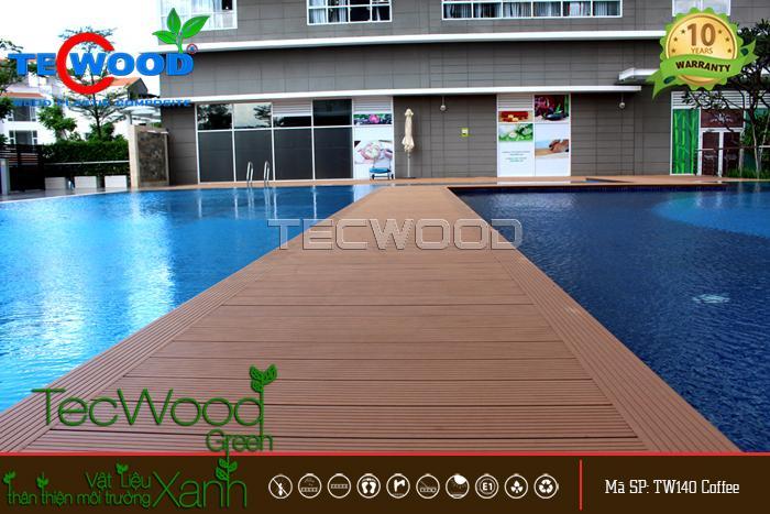 sàn gỗ lót bể bơi