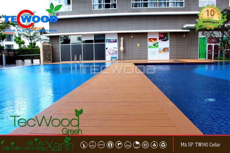 sàn gỗ lót hồ bơi đẹp