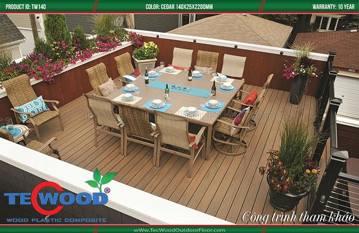 Kiểu sàn gỗ ngoài trời khá sang trọng cho lót sàn sân thượng