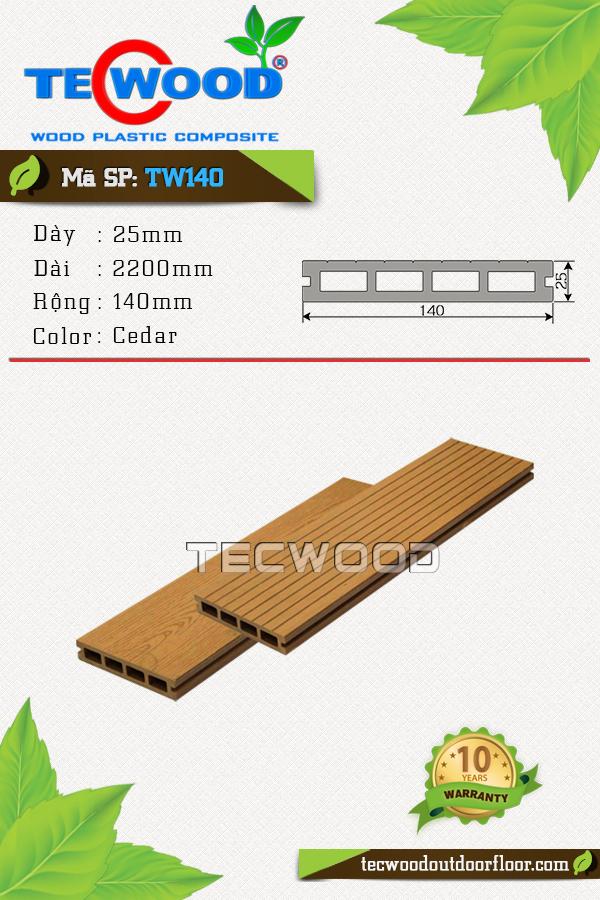 Mẫu sàn gỗ công nghiệp TW140 màu Cedar