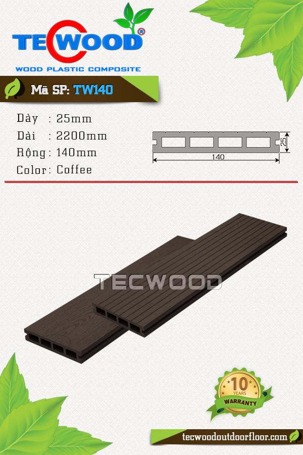 Mẫu sàn gỗ công nghiệp TW140 màu coffee